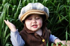 Toddler in the green grass Stock Images