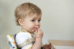 Toddler with hand , foot and mouth disease Royalty Free Stock Image