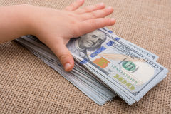 Toddler hand holding banknote bundle of US dollar in hand Royalty Free Stock Image
