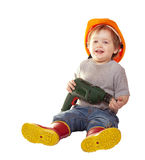 Toddler in hardhat with drill. Isolated over white Royalty Free Stock Image