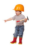 Toddler in hardhat with hammer Stock Photography