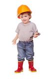 Toddler in hardhat. Isolated over white Stock Photos