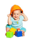 Toddler in hardhat  over white Stock Photo