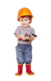 Toddler in hardhat with tools. Isolated over white Stock Photos