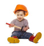 Toddler in hardhat with tools over white Stock Photo