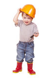 Toddler in hardhat with wrench. Isolated over white Stock Photos