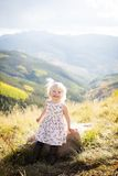 Toddler on a mountain top Stock Image