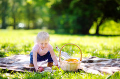 Toddler having a picnic in sunny park Royalty Free Stock Photo