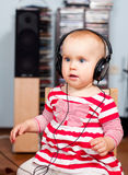 Toddler with headphones Royalty Free Stock Photo
