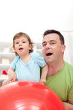 Toddler and his father Stock Photo