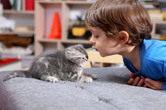 Toddler with his kitten Royalty Free Stock Photography