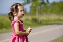 Toddler holding flower Stock Images