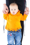Toddler holding mother's hands Royalty Free Stock Image