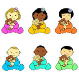 Toddler Holding Teddy Bear. Set of sitting girl and boy toddlers holding teddy bear vector illustration