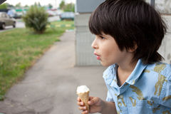 Toddler with a ice-cream Royalty Free Stock Photography