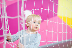 Toddler in indoors sport court Royalty Free Stock Image