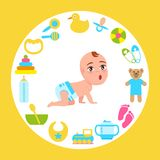 Toddler Infant in Diaper Crawl on All Fours Vector. Toddler infant in diaper crawls on all fours with wide open mouth frame made of accessories for kids fun and Royalty Free Stock Images