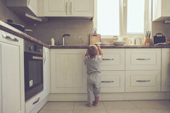 Toddler in the kitchen alone Stock Image