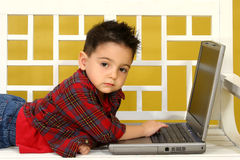 Toddler with Laptop Royalty Free Stock Photography