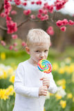 Toddler with lollipop Stock Photo