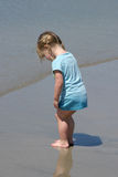 Toddler Looking at sand. Young toddler girl looking at her toes in the wet sand at the beach Royalty Free Stock Photos