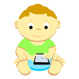 Toddler With Mobile Device Royalty Free Stock Images