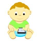 Toddler With Mobile Device. Boy toddler holding a mobile smartphone tablet Vector Illustration