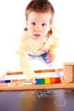 Toddler near blackboard royalty free stock photos