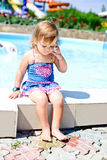 Toddler near pool Royalty Free Stock Photos