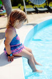 Toddler near pool Royalty Free Stock Images