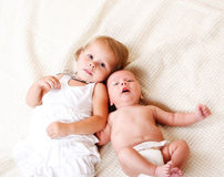 Toddler and newborn Royalty Free Stock Images