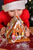 Toddler nibbles from the gingerbread house Stock Images