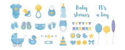 Free Toddler Nursing And Health Care And Hygiene Products With Decorative Elements For Baby Shower Design. Stock Photography - 138035722