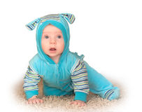 Toddler overalls. Hare on the carpet Stock Image