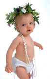 Toddler With Pearls. Toddler girl in white diaper cover, with string of pearls, on white background Stock Photos