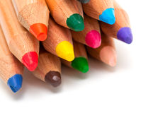Toddler pencils over white Royalty Free Stock Photos