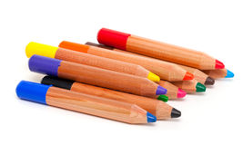 Toddler pencils over white Stock Photo