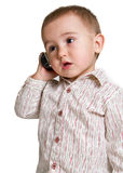 Toddler on the phone royalty free stock photography