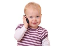 Toddler with phone Royalty Free Stock Photo