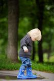 Toddler playing at the autumn day Stock Images
