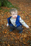 Toddler playing with autumn leaves. Cute toddler with a stick playing with fallen autumn leaves stock photography