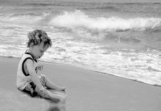 Toddler Playing at Beach Royalty Free Stock Image