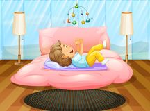Toddler playing on the bed. Illustration Royalty Free Stock Image