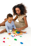 Toddler playing with blocks Royalty Free Stock Image