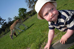 Toddler playing in countryside Stock Photography