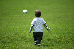Toddler Playing Football Royalty Free Stock Photography
