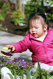 Toddler Playing in the Garden. Toddler Playing in the spring garden Royalty Free Stock Images