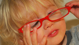 Eyeglasses Fun with Children. Young blond child trying hard to put on bright red eyeglasses, close-up Royalty Free Stock Photos