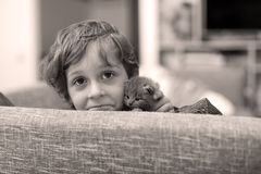 Toddler playing with a kitten Royalty Free Stock Images