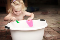 Toddler Playing Outside Royalty Free Stock Photography